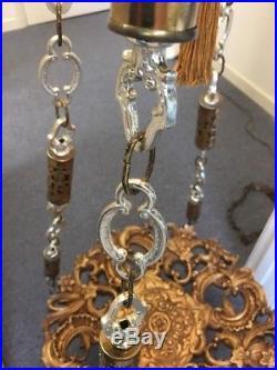 VINTAGE Hollywood Regency HANGING TABLE LAMP Chandelier Swag Light Fixture