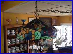 VINTAGE LARGE TIFFANY STYLE STAINED LEADED GLASS 3 ARM HANGING Butterfly LAMP