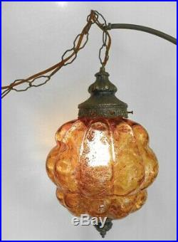 VINTAGE MID CENTURY MODERN HANGING SWAG LAMP With DIFUSER, AMBER, MCM