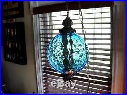 VINTAGE Mid Century Modern Blue Diamond Glass Hanging Swag / Pendant Lamp