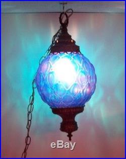 VINTAGE Mid Century Modern Blue Glass Hanging Swag Pendant Lamp Retro