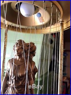 VINTAGE OIL RAIN DRIP DROP Hanging LAMP 3 GREEK GODDESSES 36 Tall