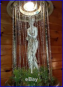 VINTAGE OIL RAIN HANGING SWAG LIGHT LAMP NAKED LADY GREEK GODDESS With FOLAIGE