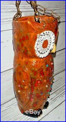 VINTAGE RETRO MID CENTURY 15 CERAMIC OWL LUCITE Pegs HANGING SWAG LAMP LIGHT