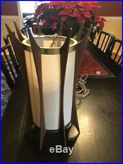VINTAGE SCULPTURED MID CENTURY MODERN ADRIAN PEARSALL MODELINE TEAK Hang LAMP