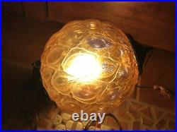 VINTAGE Underwater laboratories Hanging AMBER ROUND GLASS GLOBE LIGHT LAMP
