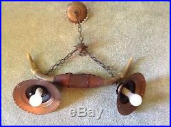 VINTAGE WESTERN COWBOY COW HORN CEILING HANGING LAMP LIGHT with COPPER SHADES
