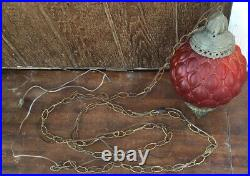 VIntage Swag Ruby Red, Hanging Glass Globe Lamp Light with Chain