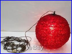 VTG 1960s SPACE AGE RED MOON SPUN LUCITE SPAGHETTI HANGING SWAG LAMP LIGHT