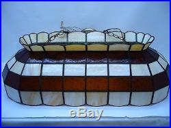 VTG 3' Tiffany Pool Table lamp Light Ivory & Amber glass hanging Bar light Large