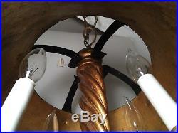 VTG 60s Italian Gold Gilt Chandelier Bouillotte Hanging Light Fixture Tole Lamp