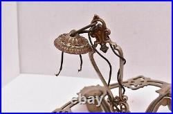 VTG ART DECO Ceiling 4 Light Lamp Fixture hanging Ceiling chandelier 14 Antique