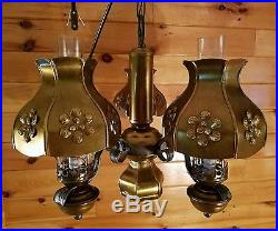 VTG/Antique Country Rustic Large Hanging Ceiling Light Chandelier, Oil Lamp Style