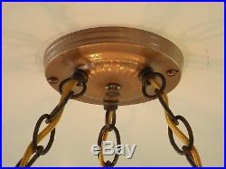 VTG Art Deco Skyscraper Semi-Flush Hanging Chandelier Ceiling Lamp Light Fixture