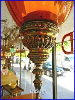 VTG Brass Amber Glass Hollywood Regency Mid Century Swag Hanging Lamp Free Ship