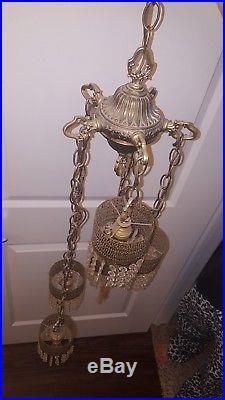 VTG Brass Crystal Prism 5 tier Hanging Swag Light Lamp Brass Hollywood Regency