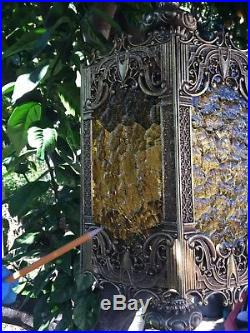 VTG Chandelier Swag Hanging Light Lamp Amber Glass Hollywood Regency Gothic