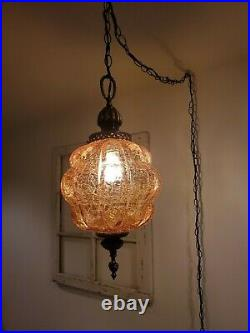 VTG Crackle Swag Hanging Light Amber Bubble Glass Globe Mid Century Lamp