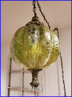 VTG Crackle Swag Hanging Light Green Melon Shaped Glass Globe Mid Century Lamp
