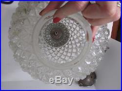 VTG EF EF Industries Hanging Swag Lamp Ceiling Light 1978 Glass Pineapple Globe