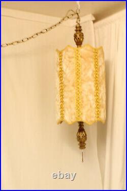 VTG Gold Velvet Drum Shade Hanging Swag Lamp Light Mid Century Modern MCM 1960s