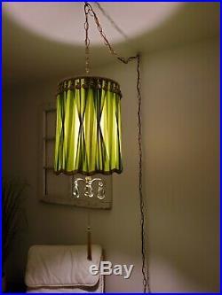 VTG Green Drum Shade Swag Lamp with Hanging Crystals Light Mid Century Regency