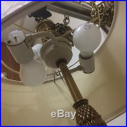VTG Hanging Brass Pineapple Sunflower Swag Lamp Light Hollywood Regency MCM