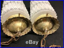 VTG Hollywood Regency Style Hanging Globe Lamp Light Fixtures or Swags