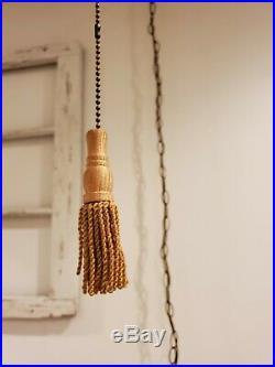 VTG Large Amber Crackle Glass Bubble Globe Swag Hanging Light Mid Century Lamp