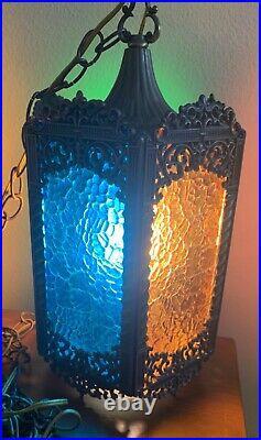 VTG Large Mid Century Retro Gothic Spanish/Tudor Hanging Swag Light/Lamp