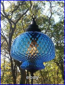 VTG MCM 18 Hanging Swag Light Lamp BLUE Glass Inverted Bubble