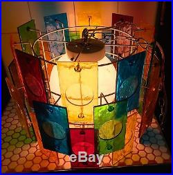 VTG MCM 1960s 1970s Colorful Plexiglass Stained Glass Mod Hanging Lamp Light