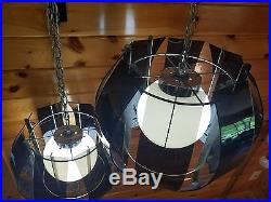 VTG MCM (2) Atomic Retro Smoked Lucite Acrylic Hanging Swag Light Lamp Fixtures