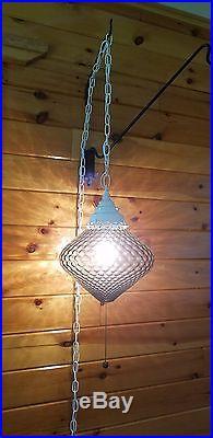VTG MCM Atomic Retro Smoked Coin Dot Hanging Swag Light Lamp Fixture