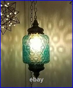 VTG MCM Glass Hanging TURQUOISE Blue Light Swag Lamp Dot Diffuser Retro