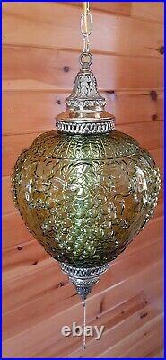 VTG MCM Retro Green Grape Bubble Glass Hanging Swag Light/Lamp