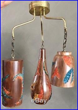 VTG MCM Rock Crystal Hanging Ceiling Fixture Light Lamp Swag Hollywood Regency