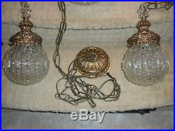 VTG MCM Triple Hanging Pendant Light Fixture Swag Lamp Geometric Glass Globe