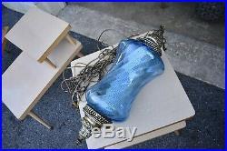 VTG MCM blue glass 50's 60's swag hanging lamp retro atomic style