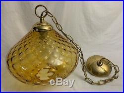 VTG MID CENTURY MODERN HANGING GLASS LAMP LIGHT CEILING FIXTURE Pendant Swag