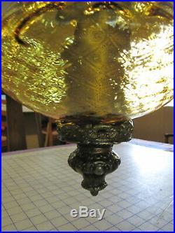 VTG Mcm Retro Gothic Spanish/Tudor Hanging Swag Light/Lamp Amber Glass 21