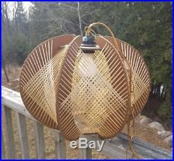 VTG MidCentury MOD Wood & Raffia String Woven Hanging Art Lamp Swag Chain Light