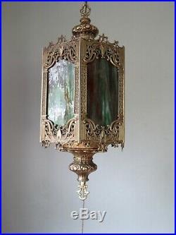 VTG Mid Century Gothic Spanish/Tudor Brass Hanging Swag Light/Lamp Stained Glass