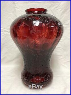 VTG Mid Century Gothic Spanish/Tudor Hanging Swag Light/Lamp Red Crackle Glass