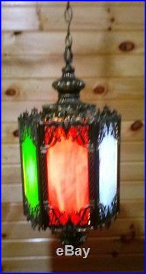 VTG Mid Century Gothic Spanish/Tudor Hanging Swag Light/Lamp Stained Glass