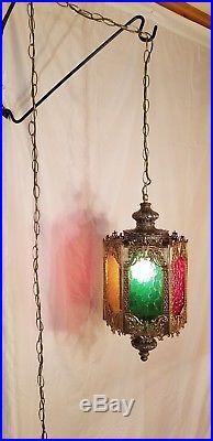 VTG Mid Century Gothic Spanish/Tudor Multi-Colored Hanging Swag Light/Lamp