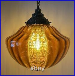 VTG Mid Century LARGE Hanging Swag Lamp Light Amber Glass with Light Diffuser