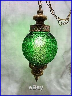 VTG Mid-Century Large Green Glass Hanging Swag Lamp Light Fixture w Diffuser