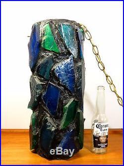 VTG Mid Century MOD BLUE CHUNKY SLAG GLASS SWAG LAMP Hanging CEILING Lucite NR