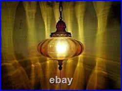 VTG Mid Century Modern Amber UFO Flying Saucer Hanging Swag Lamp 1960's